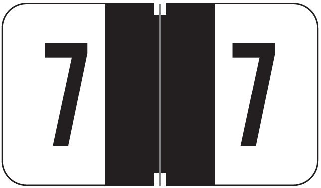 Jeter 0300 Match JANM Series Numeric Roll Labels - Number 7 - Black
