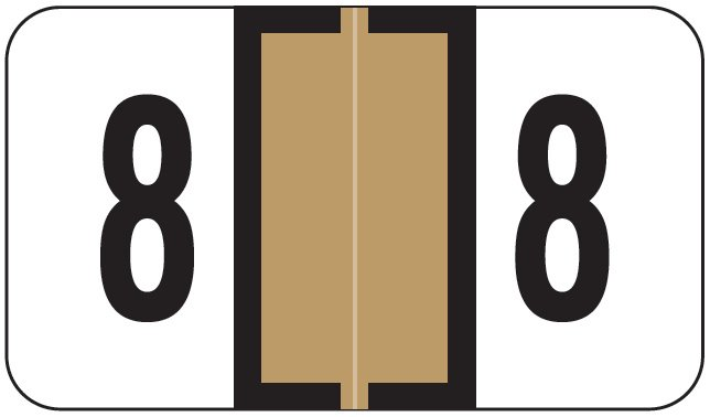 Jeter 0300 Match JANM Series Numeric Roll Labels - Number 8 - Tan