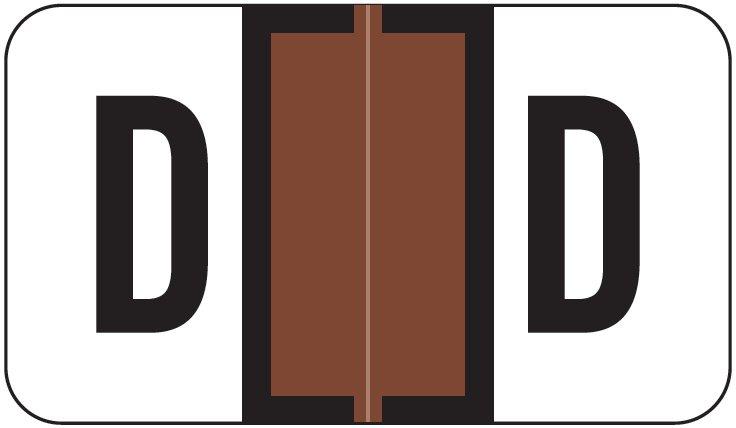 Jeter 2800 Match JEAM Series Alpha Roll Labels - Letter D - Brown