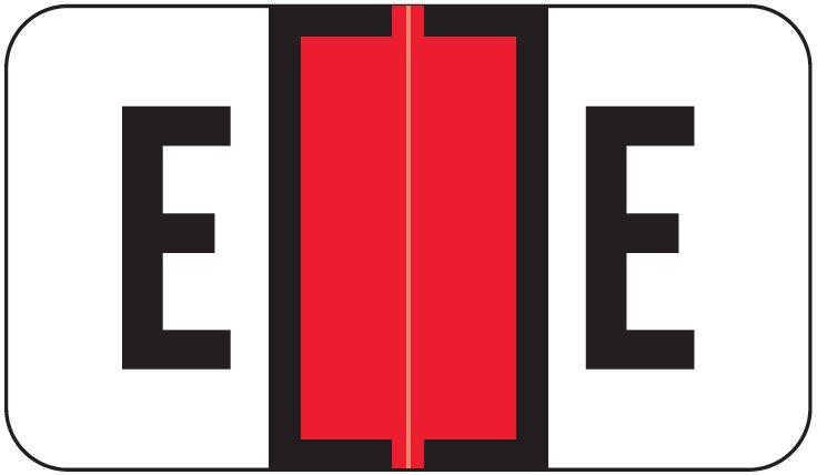 Jeter 2800 Match JEAM Series Alpha Roll Labels - Letter E - Red