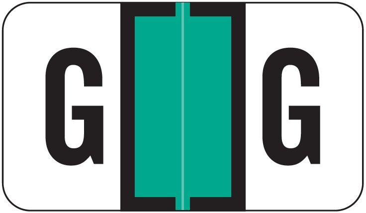 Jeter 2800 Match JEAM Series Alpha Roll Labels - Letter G - Light Green