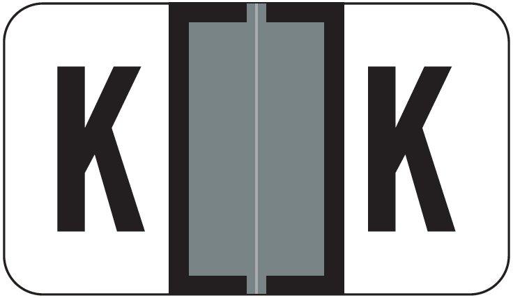 Jeter 2800 Match JEAM Series Alpha Roll Labels - Letter K - Gray