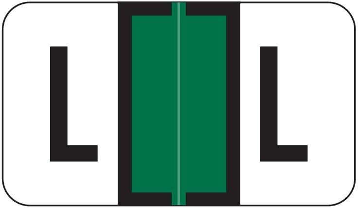 Jeter 2800 Match JEAM Series Alpha Roll Labels - Letter L - Dark Green