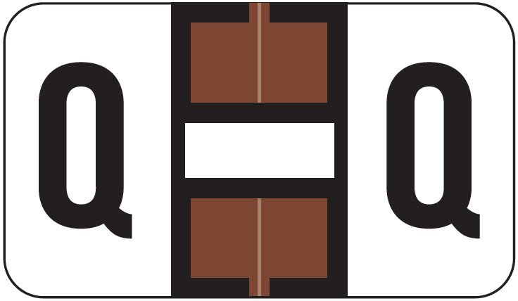 Jeter 2800 Match JEAM Series Alpha Roll Labels - Letter Q - Brown and White