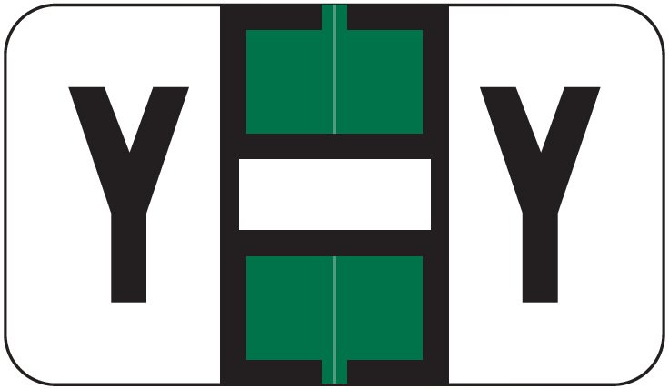 Jeter 2800 Match JEAM Series Alpha Roll Labels - Letter Y - Dark Green and White