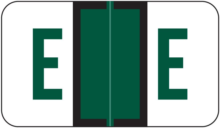 Jeter Tab 5100 Match JRAM Series Alpha Roll Labels - Letter E - Dark Green