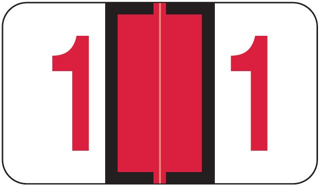 Jeter 6100/Tab Match JRNM Series Numeric Roll Labels - Number 1 - Red