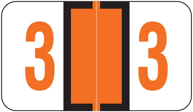 Jeter 6100/Tab Match JRNM Series Numeric Roll Labels - Number 3 - Dark Orange
