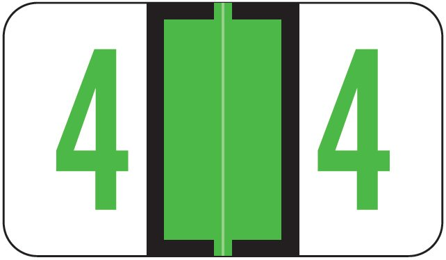 Jeter 6100/Tab Match JRNM Series Numeric Roll Labels - Number 4 - Light Green