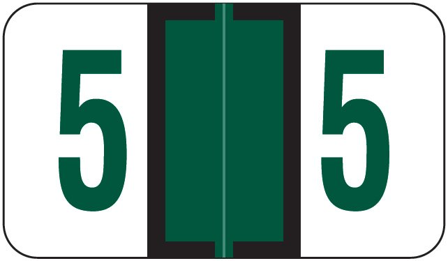 Jeter 6100/Tab Match JRNM Series Numeric Roll Labels - Number 5 - Dark Green
