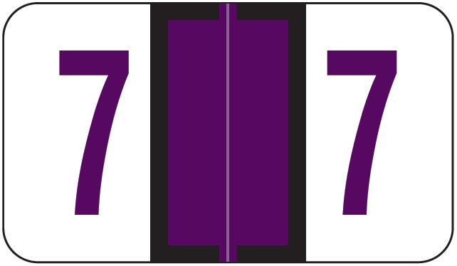 Jeter 6100/Tab Match JRNM Series Numeric Roll Labels - Number 7 - Purple