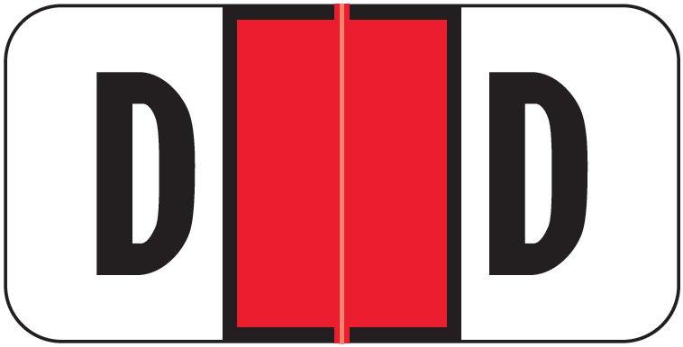 Jeter 2900 Match JSAM Series Alpha Roll Labels - Letter D - Red