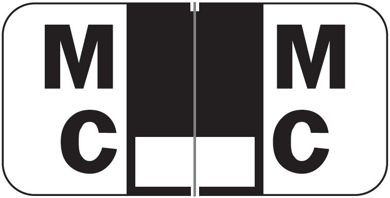 Jeter 2900 Match JSAM Series Alpha Roll Labels - Letter Mc - Black and White