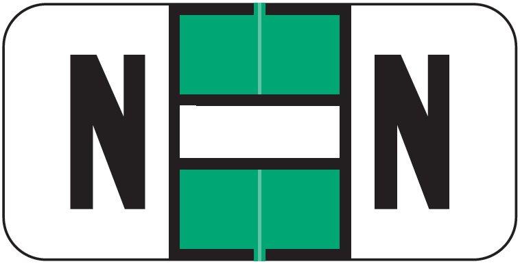 Jeter 2900 Match JSAM Series Alpha Roll Labels - Letter N - Light Green and White