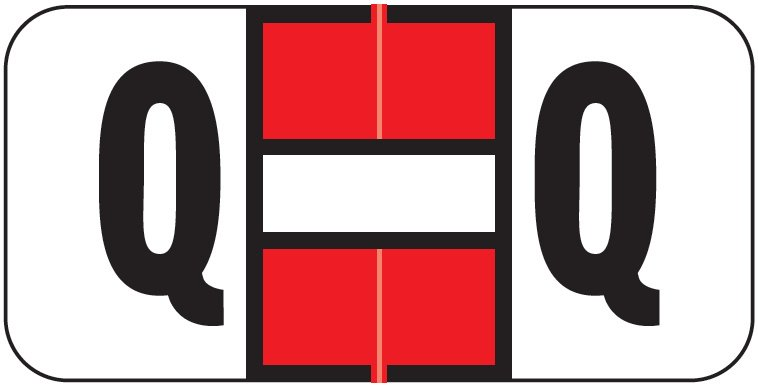 Jeter 2900 Match JSAM Series Alpha Roll Labels - Letter Q - Red and White