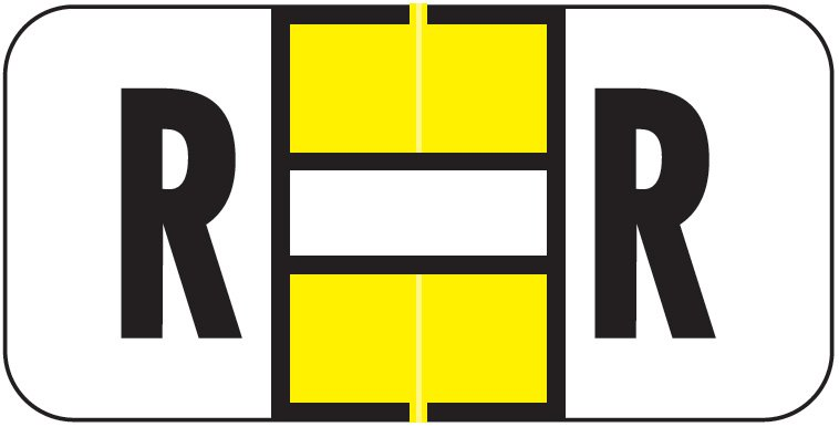 Jeter 2900 Match JSAM Series Alpha Roll Labels - Letter R - Yellow and White
