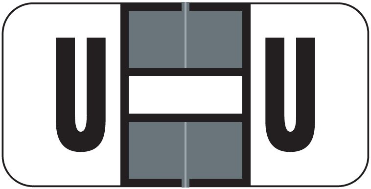 Jeter 2900 Match JSAM Series Alpha Roll Labels - Letter U - Gray and White