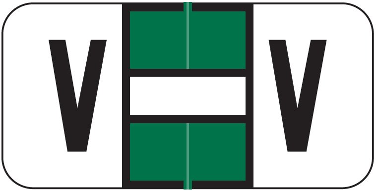 Jeter 2900 Match JSAM Series Alpha Roll Labels - Letter V - Dark Green and White