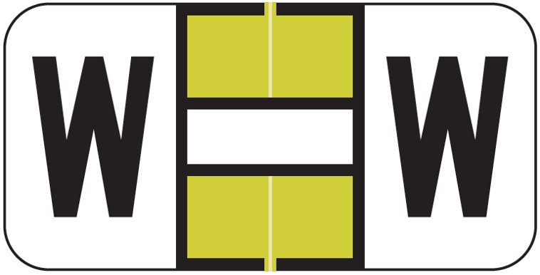 Match JSAM Series Alpha Roll Labels - Letter W - Gold and White