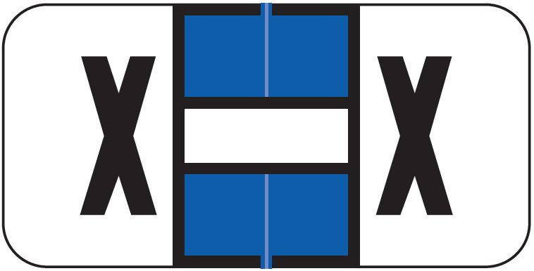Jeter 2900 Match JSAM Series Alpha Roll Labels - Letter X - Dark Blue and White