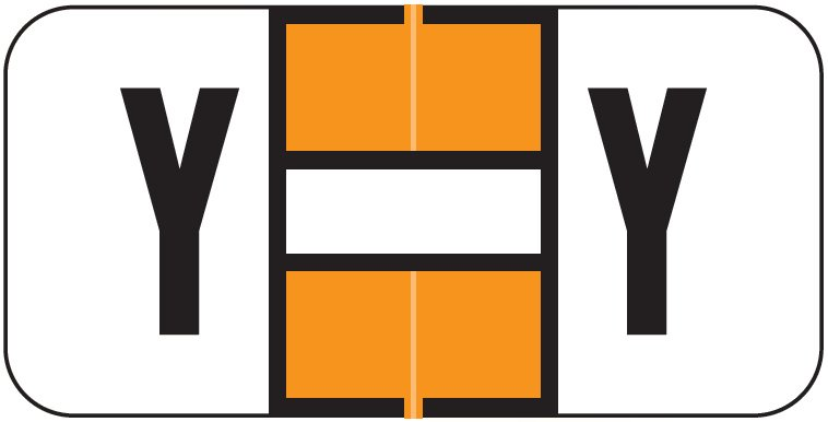 Jeter 2900 Match JSAM Series Alpha Roll Labels - Letter Y - Orange and White