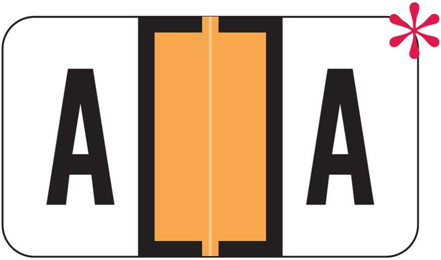 Jeter 5800 Match JT3R Series Alpha Sheet Labels - Letter A - Fluorescent Orange