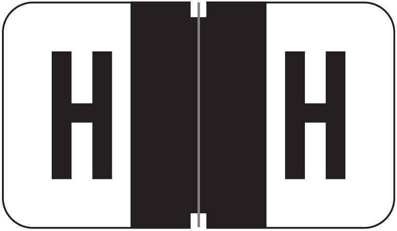 Jeter 5800 Match JT3R Series Alpha Sheet Labels - Letter H - Black