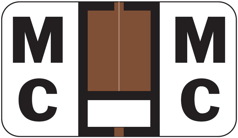Jeter 5800 Match JT3R Series Alpha Sheet Labels - Letter Mc - Brown and White