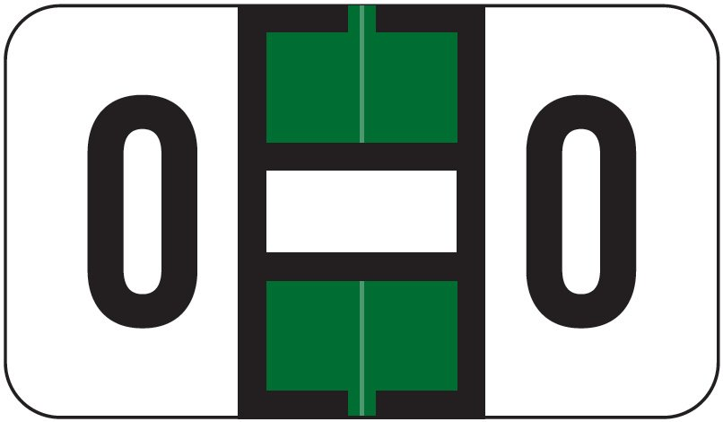 Jeter 5800 Match JT3R Series Alpha Sheet Labels - Letter O - Dark Green and White