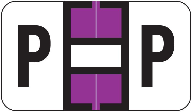 Jeter 5800 Match JT3R Series Alpha Sheet Labels - Letter P - Purple and White