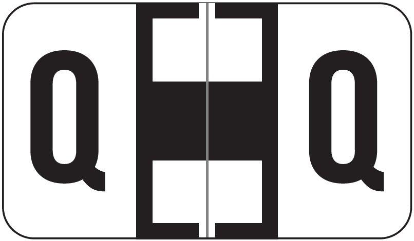 Jeter 5800 Match JT3R Series Alpha Sheet Labels - Letter Q - White and Black