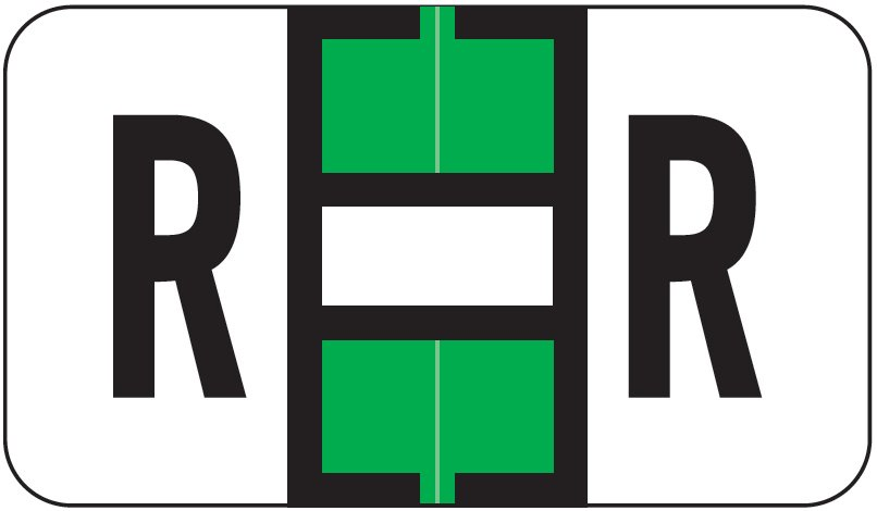 Jeter 5800 Match JT3R Series Alpha Sheet Labels - Letter R - Light Green and White