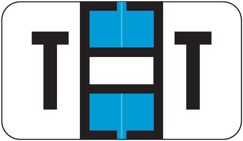 Jeter 5800 Match JT3R Series Alpha Sheet Labels - Letter T - Light Blue and White
