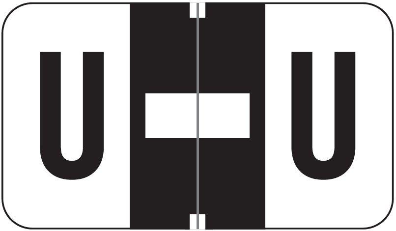 Jeter 5800 Match JT3R Series Alpha Sheet Labels - Letter U - Black and White
