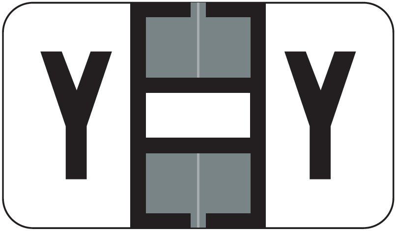 Jeter 5800 Match JT3R Series Alpha Sheet Labels - Letter Y - Gray and White