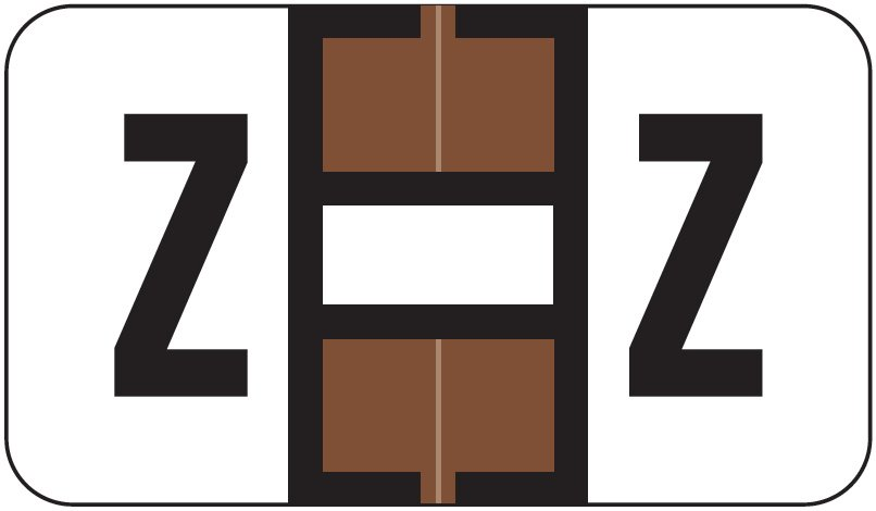 Jeter 5800 Match JT3R Series Alpha Sheet Labels - Letter Z - Brown and White