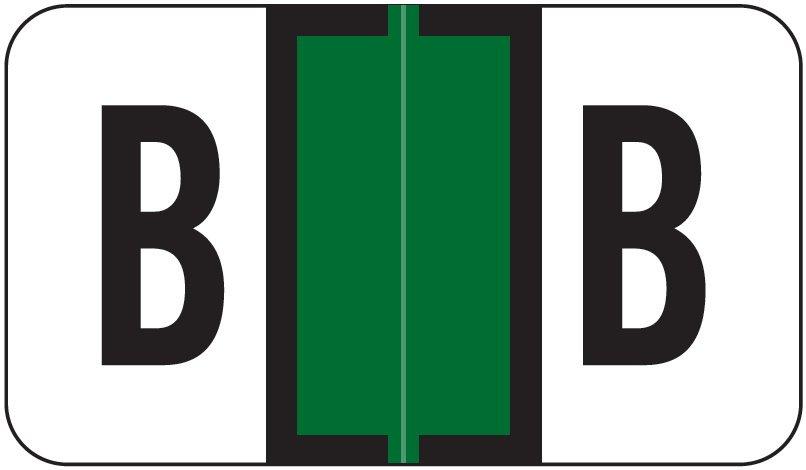Jeter 7200 Match JTAM Series Alpha Roll Labels - Letter B - Dark Green