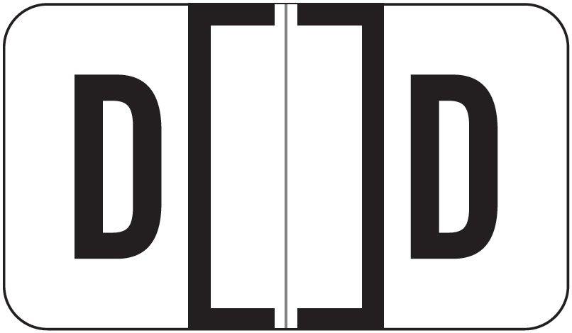 Jeter 7200 Match JTAM Series Alpha Roll Labels - Letter D - White