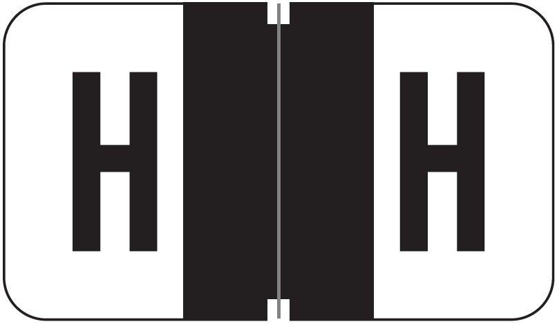 Jeter 7200 Match JTAM Series Alpha Roll Labels - Letter H - Black