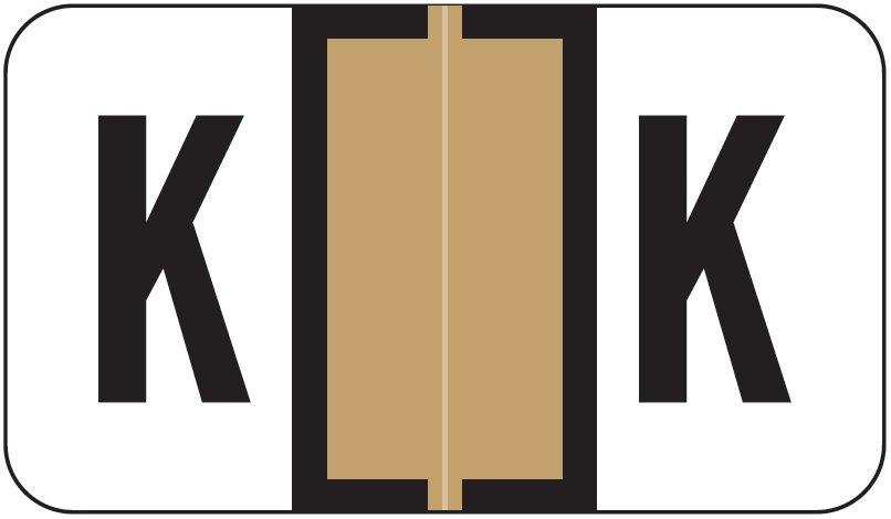 Jeter 7200 Match JTAM Series Alpha Roll Labels - Letter K - Tan