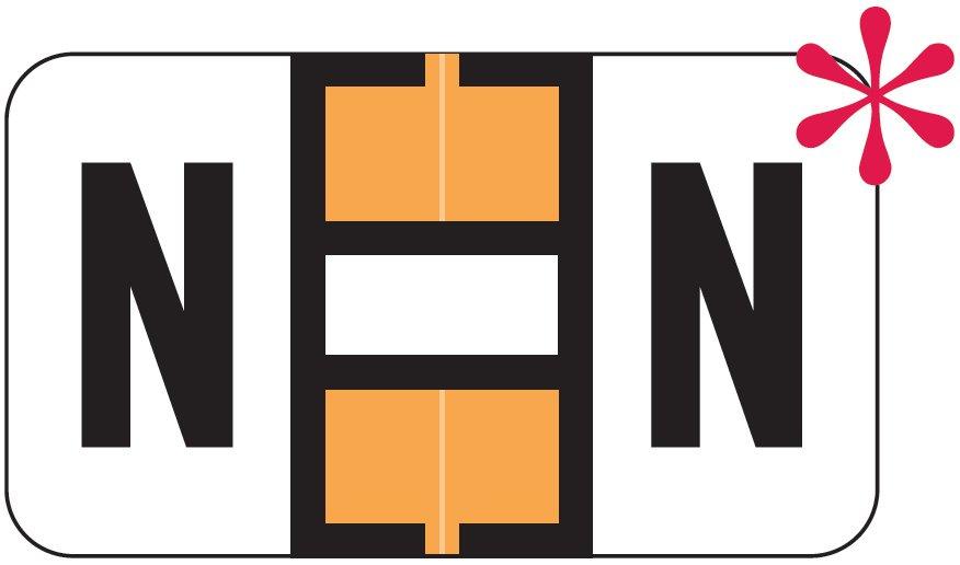 Jeter 7200 Match JTAM Series Alpha Roll Labels - Letter N - Fluorescent Orange and White