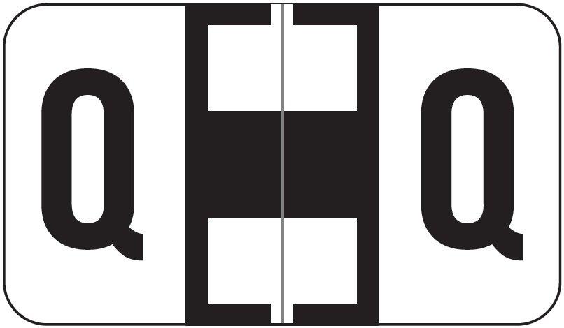 Jeter 7200 Match JTAM Series Alpha Roll Labels - Letter Q - White and Black