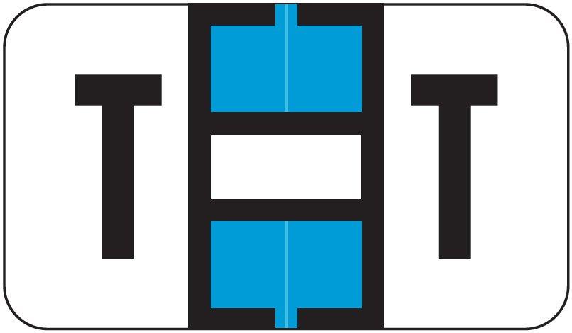Jeter 7200 Match JTAM Series Alpha Roll Labels - Letter T - Light Blue and White