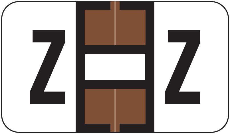 Jeter 7200 Match JTAM Series Alpha Roll Labels - Letter Z - Brown and White