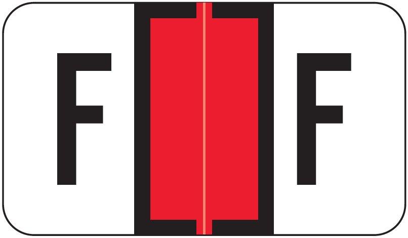 Jeter 7100 Match JTPK Series Alpha Sheet Labels - Letter F - Red