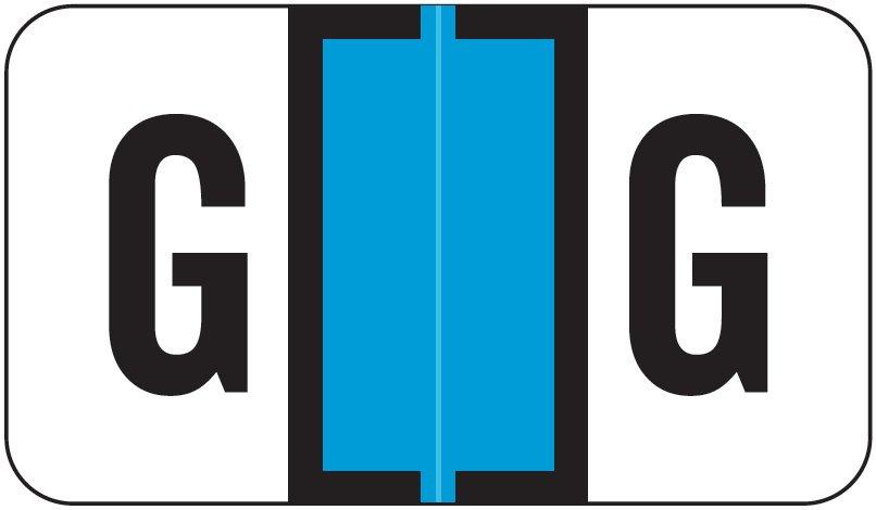 Jeter 7100 Match JTPK Series Alpha Sheet Labels - Letter G - Light Blue
