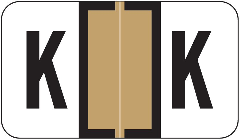 Jeter 7100 Match JTPK Series Alpha Sheet Labels - Letter K - Tan
