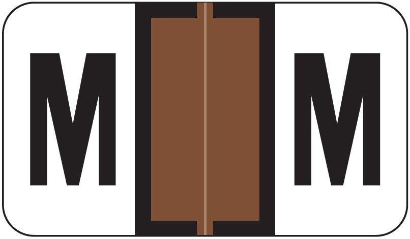 Jeter 7100 Match JTPK Series Alpha Sheet Labels - Letter M - Brown