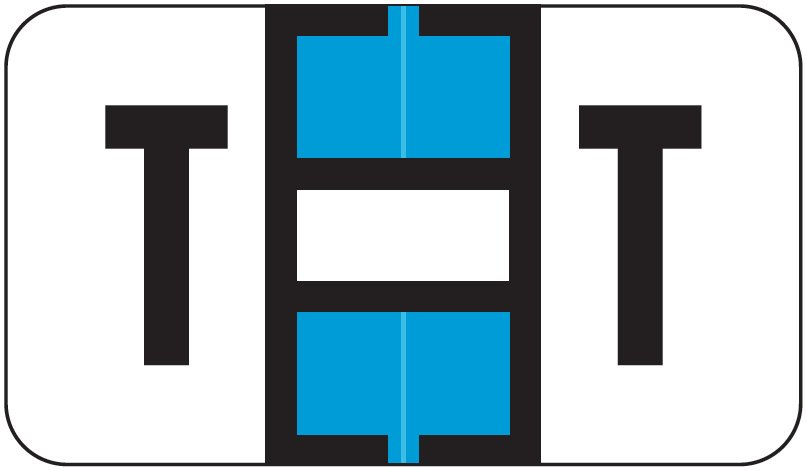 Jeter 7100 Match JTPK Series Alpha Sheet Labels - Letter T - Light Blue and White