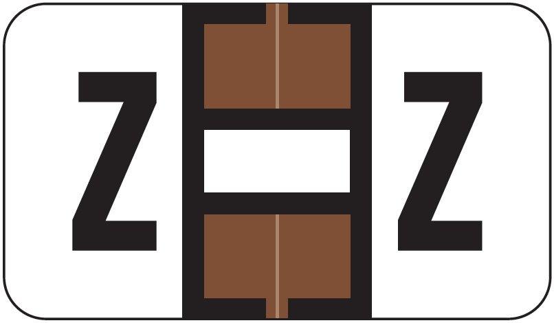 Jeter 7100 Match JTPK Series Alpha Sheet Labels - Letter Z - Brown and White